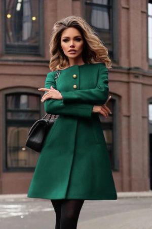Palton verde de iarna casual elegant din stofa cu lana si croiala evazata accesorizat cu cordon in talie Dulcis