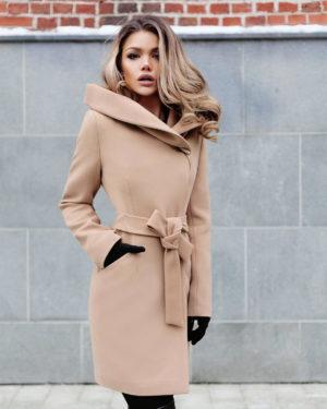 Palton cu gluga bej elegant din stofa groasa de calitate ce tine de cald in sezonul rece Sylvie