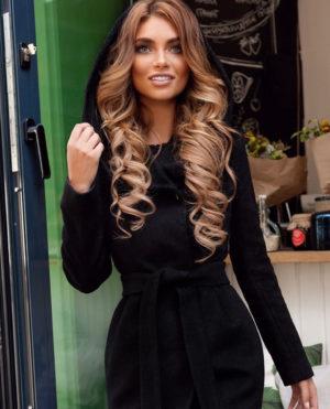 Palton cu gluga negru elegant din stofa groasa de calitate ce tine de cald in sezonul rece Sylvie