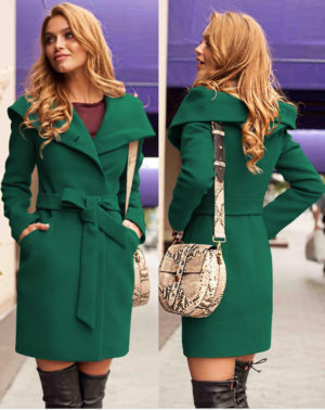 Palton cu gluga verde elegant din stofa groasa de calitate ce tine de cald in sezonul rece Sylvie
