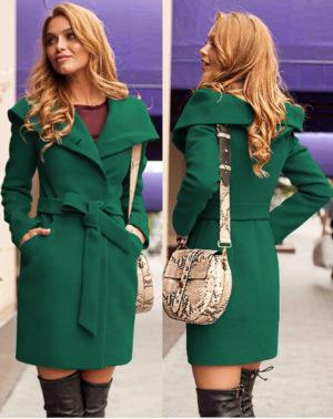 Palton stofa gluga Sylvie Verde marca Chic Diva pentru femei