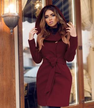 Palton stofa gluga Sylvie Visiniu Bordo marca Chic Diva pentru femei