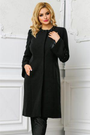 Pardesiu din stofa negru elegant de ocazie cu broderii delicate cu perlute si maneci evazate Ginette