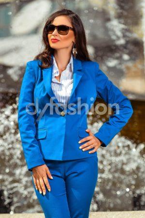 Sacou Albastru rafinat accesorizat cu un nasture auriu maxi Anastasia