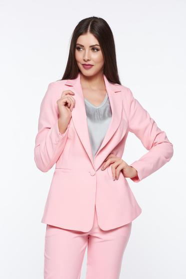 Sacou roz office cu mâneci lungi și două buzunare interioare în față Artista