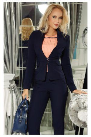 Sacou office bleumarin elegant cambrat cu rever adanc pentru un efect feminin Fofy