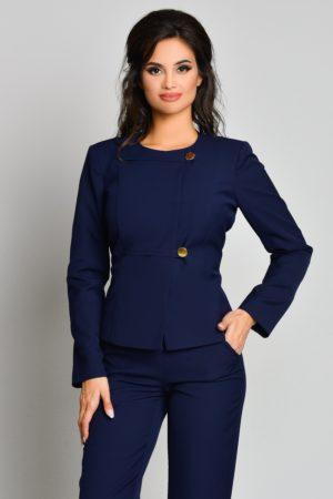 Sacou bleumarin office elegant cu aspect military si insertii discrete ce iti avantajeaza silueta Ginette