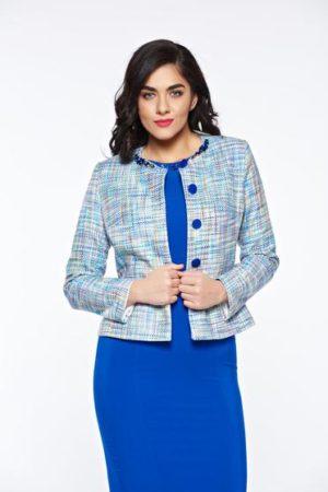 Sacou de ocazie de dama albastru elegant din bumbac din jacquard original cu model colorat LaDonna