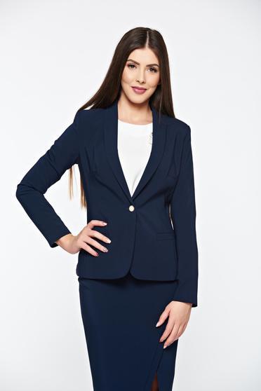 Sacou dama albastru inchis cu mâneci lungi și guler îndoit cambrat cu un design clasic LaDonna