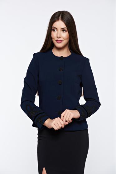 Sacou LaDonna albastru-inchis elegant captusit pe interior cu broderie aplicata manual pentru femei