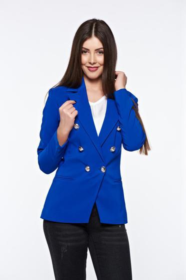 Sacou dama albastru office cambrat cu mâneci lungi și două buzunare interioare cu nasturi metalici LaDonna
