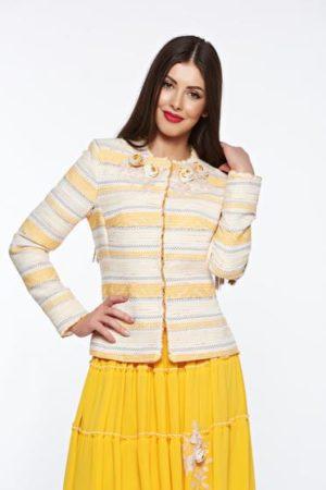 Sacou LaDonna galben elegant din bumbac captusit pe interior cu aplicatii cusute manual pentru femei