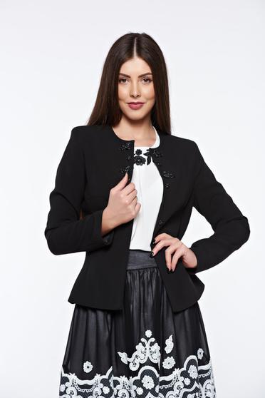 Sacou LaDonna negru elegant cambrat captusit pe interior cu aplicatii cusute manual pentru femei
