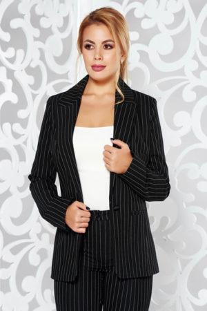 Sacou negru din stofa cu dungi inguste verticale Business pentru office cambrat LaDonna