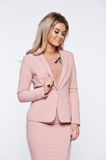 Sacou LaDonna rosa basic cambrat din material fin la atingere captusit pe interior pentru femei