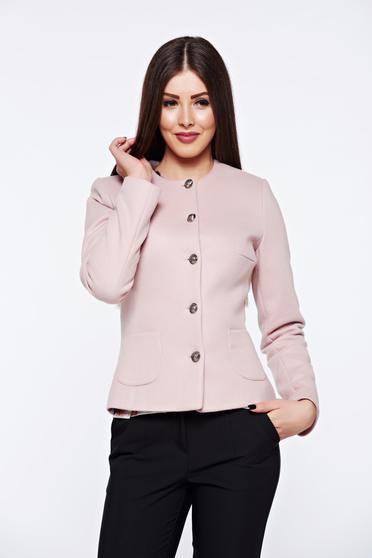 Sacou modern roz elegant de dama lung pana in talie din stofa de calitate de grosime medie LaDonna