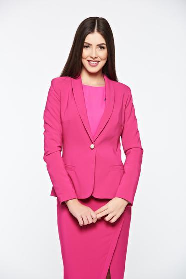 Sacou roz fucsia elegant de dama accesorizat cu nasture perluta LaDonna pentru ocazii speciale