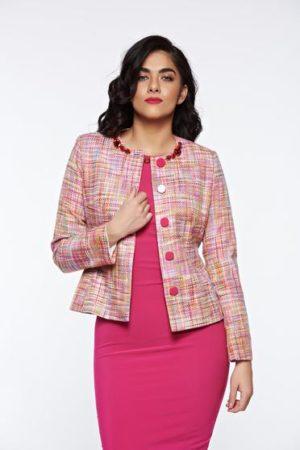 Sacou LaDonna roz elegant din bumbac captusit pe interior cu aplicatii cusute manual pentru femei