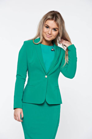 Sacou verde elegant de ocazie cu mâneci lungi și guler îndoit LaDonna