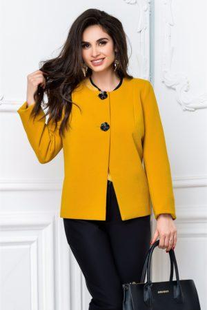 Sacou stil jacheta galben mustar elegant pentru office si un croi usor evazat Leonard Collection