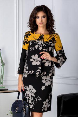 Sacou elegant office negru cu galben si imprimeu floral cu decolteu tip barcuta si inchidere cu cleme ascunse Leonard Collection