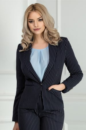 Sacou bleumarin in dungi verticale pentru tinute elegante la birou Meda
