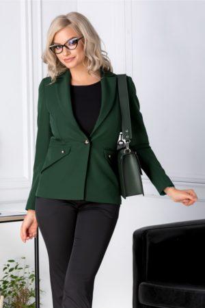 Sacou verde din stofa office cambrat cu buzunare false accesorizate cu nasturi pentru un efect feminin Moze
