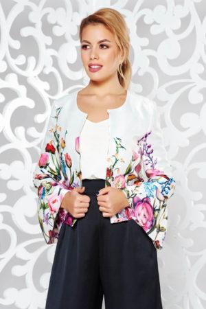 Sacou alb elegant fara incheietoare decorat cu imprimeuri florale in culori intense StarShinerS