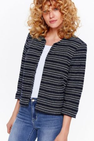 Sacou dama office cambract bleumarin cu dungi orizontale Top Secret S036852 DarkBlue