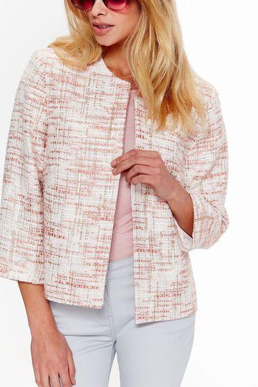 Sacou de dama roz elegant din material mai grosut pentru sezonul de toamna Top Secret S036853 Rosa