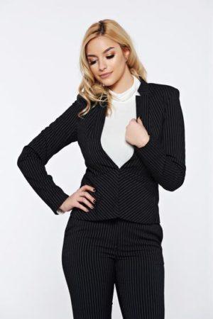 Sacou negru de dama Top Secret cu dungi verticale pentru office realizat din stofa neelastica