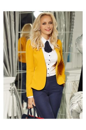 Sacou office galben mustar elegant cambrat u rever adanc pentru un efect feminin Fofy