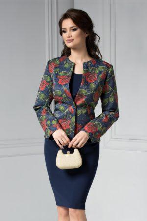 Sacou de ocazie elegant de culoare bleumarin cu imprimeu modern cu trandafiri rosii si insertii de fir stralucitor
