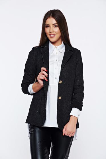Sacou gri-inchis casual cu buzunare fara captuseala pentru femei
