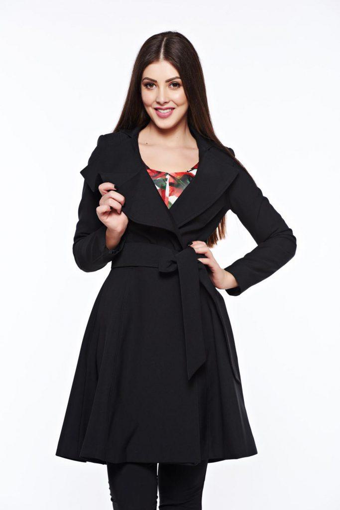 Trench feminin negru in clos potrivit pe corp confecționat din stofa subtire Artista