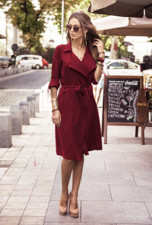 Trench Dress Army Marsala marca Chic Diva pentru femei