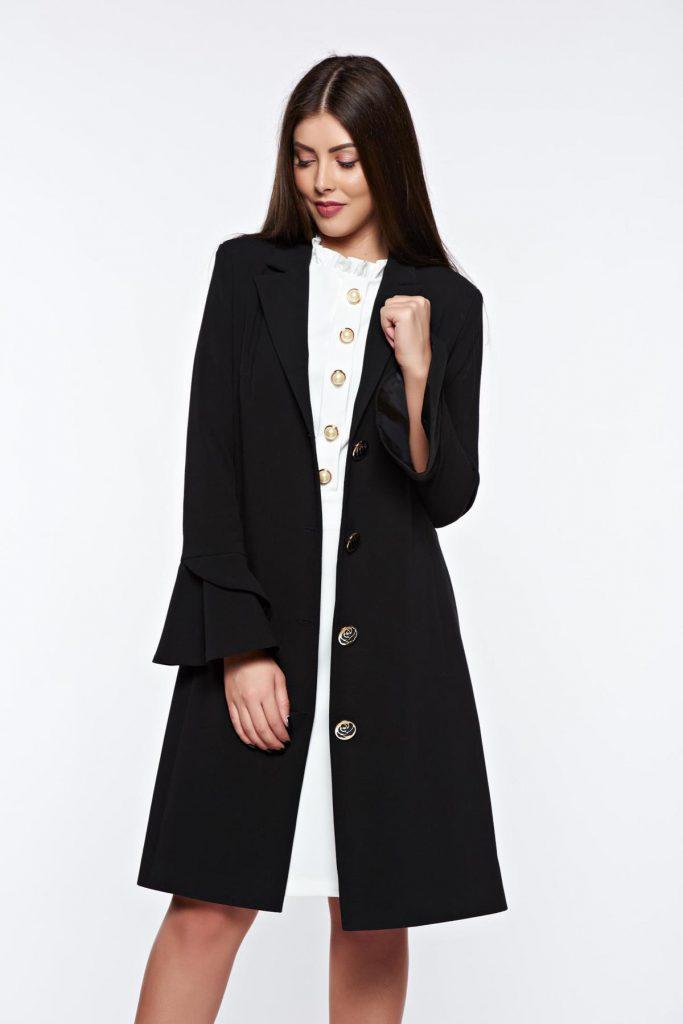 Trench lung de toamna cu croiala moderna de culoare negru elegant din stofa LaDonna
