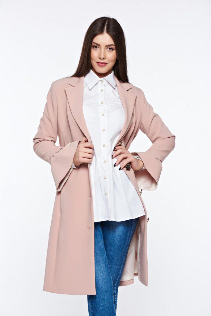 Trench lung roz elegant pentru ocazii speciale confecționat din stofa de calitate superioara LaDonna