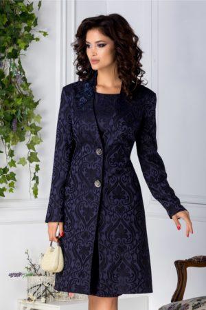 Trench dama elegant de ocazie bleumarin marca Leonard Collection accesorizat cu motive florale negre