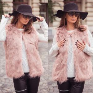 Vesta de blana roz prafuit pufoasa si fina la atingere cu fir lung cu aspect de lux Krina