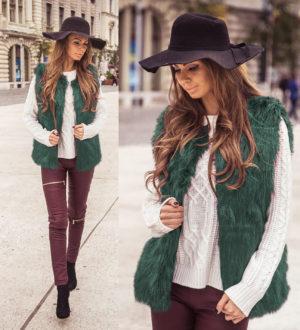 Vesta de blana verde pufoasa si fina la atingere cu fir lung cu aspect de lux Krina