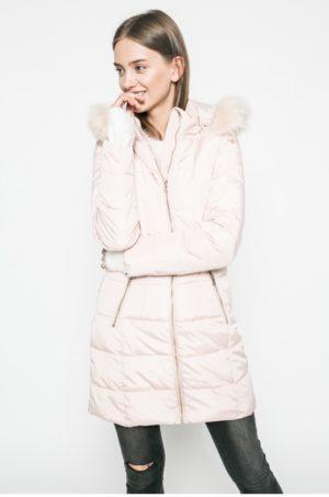 Palton crem de dama Answear Blossom Mood confectionat din material matlasat si Gluga stransa cu snururi