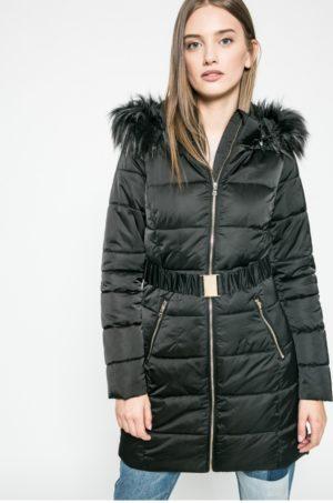 Palton negru matlasat cu Guler ridicat, Gluga detasabila decorata cu blanita artificiala Answear Blossom Mood