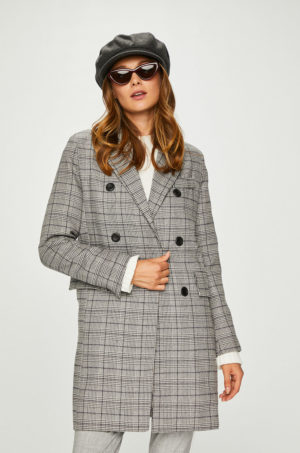 Palton dama gri in carouri cu croiala dreapta in stil masculin si inchidere cu doua randuri de nasturi Answear Femifesto