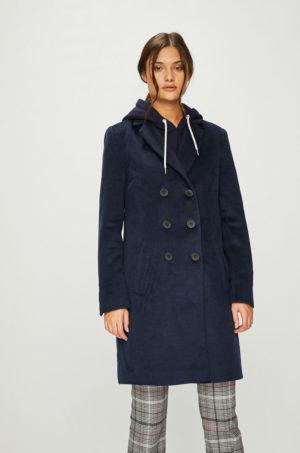 Palton bleumarin lung elegant in stil militaresc cu Incheiere cu nasturi Answear Femifesto