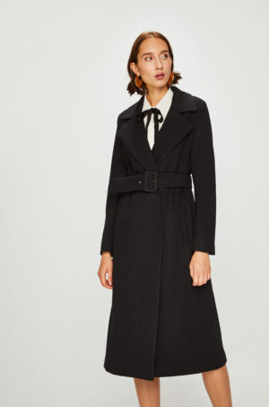 Palton dama elegant lung negru mulat cu buzunare laterale si cordon in talie Answear Heritage