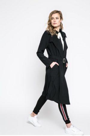 Palton dama negru lung cu croiala dreapta casual si maneci largi realizat din material subtire si confortabil Answear Sporty Fusion