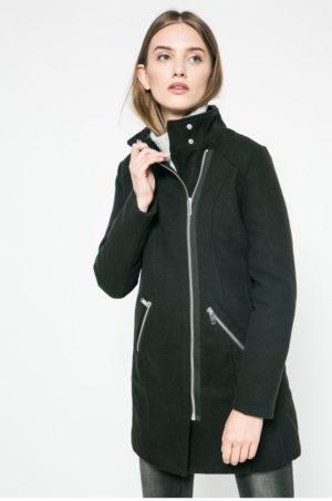 Palton negru scurt de ocazie captusit pe interior si inchidere cu fermoar Answear Ur Your Only Limit