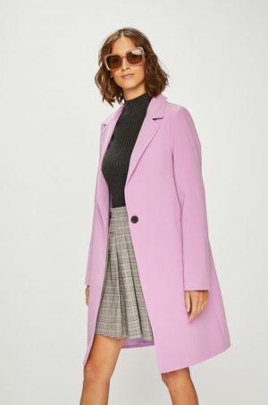 Palton dama elegant lung roz lila cu buzunare laterale si inchidere cu nasturi Answear Violet Kiss