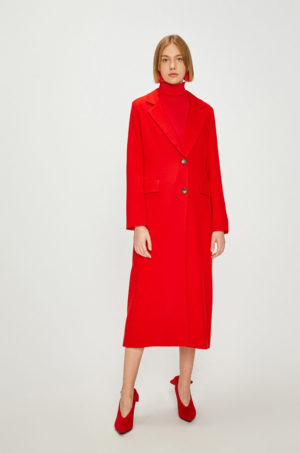 Palton elegant rosu lung pana sub genunchi cu nasturi din material calduros si placut la atingere Answear Watch me